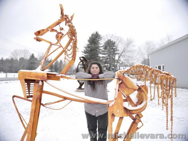 Metal sculptor  miChelle Vara at Ballard Road Art Studio