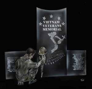 Vietnam-Vet-Memorial in Monotone