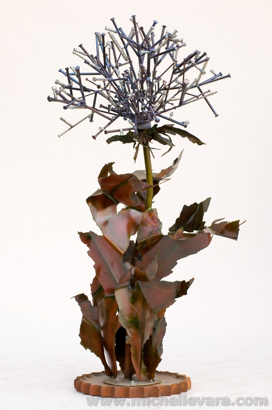 Recycled metal sculpture of Dandelion
