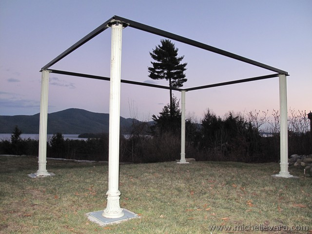 Antique Cast Iron Fluted Posts re-worked to pergola