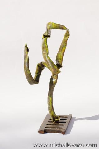 Renee vara, metal sculpture, re-purposed metal beach chair.