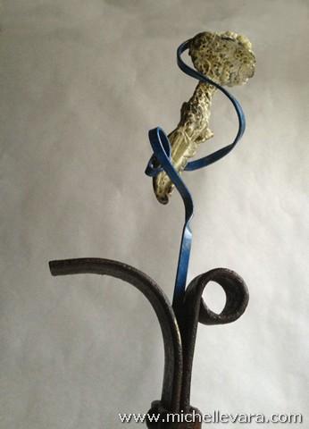 metal sculpture, sea shell,