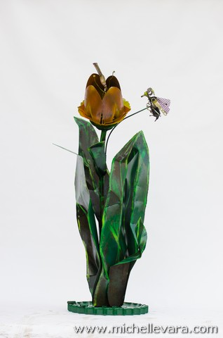 michelle vara, Metal sculpture, Large Tulips and bee's made from recycled welded material, finished in handmade paint.