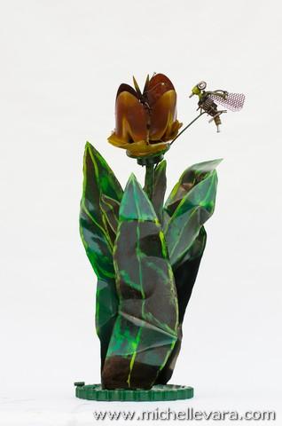 metal sculpture Flowers, Tulips,