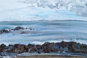 michelle vara paints the coast Acrylic canvas painting of New Hampshire coast