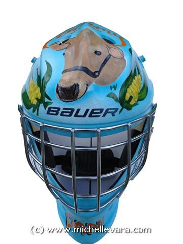 Airbrush painted child kids Goalie helmet