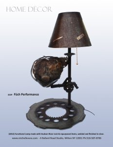 Sculpture Lamp, Füch Performance (2013) Hudson River rock and re-purposed items, welded and finished in clear.