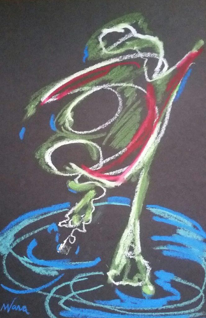 Oil Pastel, OMI Art Center, Bull Frog, miChelle vara, oil pastel