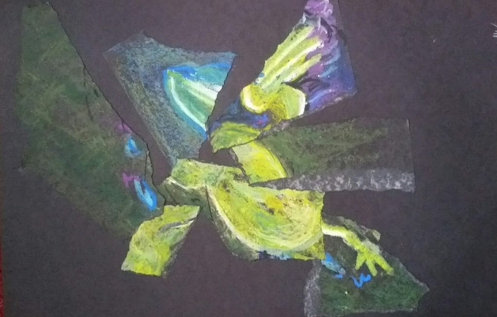 Oil Pastel, OMI Art Center, Bull Frog, miChelle vara, oil pastel