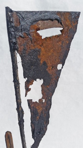 "164. mMVara (2/2016) A Rust spot cut from a cars quarter pannel and welded to tools finished in tar and oil. 21""h x 11""w x 6""d"