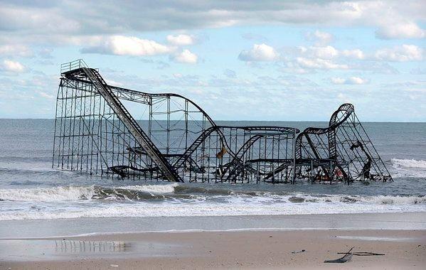 Rollercoaster in the Ocean after Strorm Sandy NJ