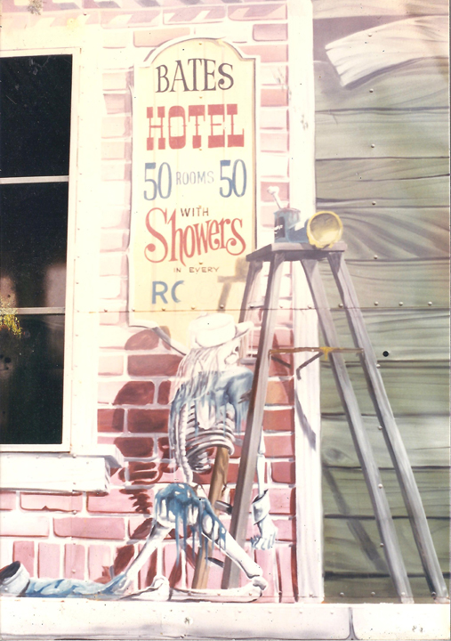 Painted on exterior of traveling fun House. Smallest panel 20'