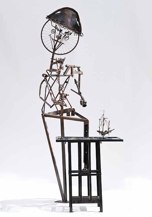"""Henry Hudson & the Half Moon"", compass made from re-purposed metals, metal sculpture,"