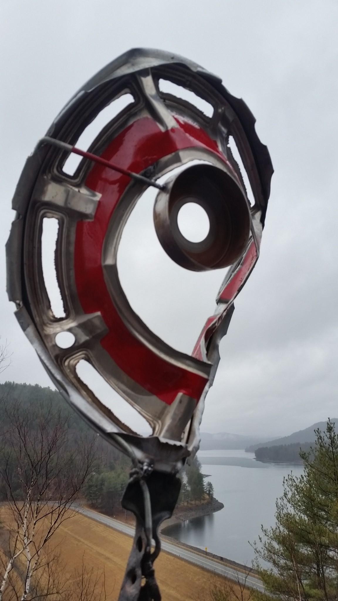 Hubcap Metal sculpture