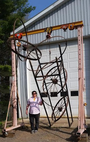 """Newly finished sculpture """"Evaluation of Spirit Self."""" and miChelle"""