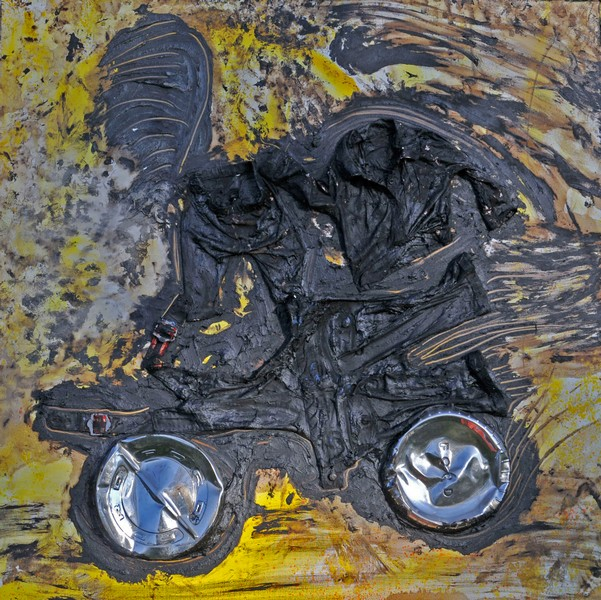 51. Spiritual Family (2006) 6'x 6', Tar clothing, hubcaps and oil paint on canvas
