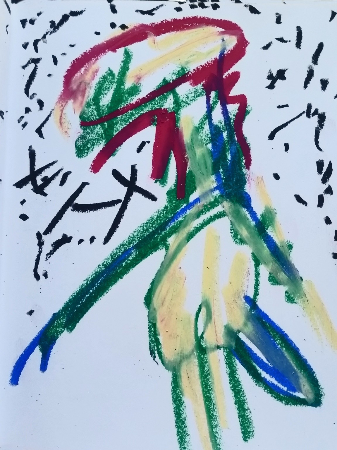 Late- Oil Pastel on paper