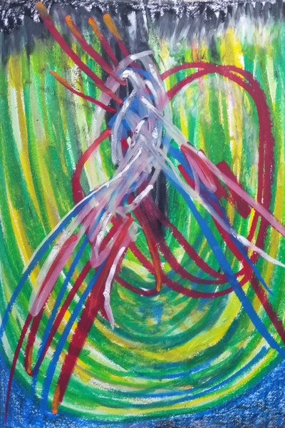 Sample of: Artist Daily practice of creating Oil Pastel Drawings; Visual conversations.