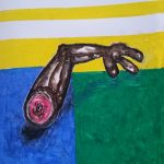 """No.57_ Hand Out_ oil pastel - that became 36"""" X 72"""" Oil & Tar painting"""
