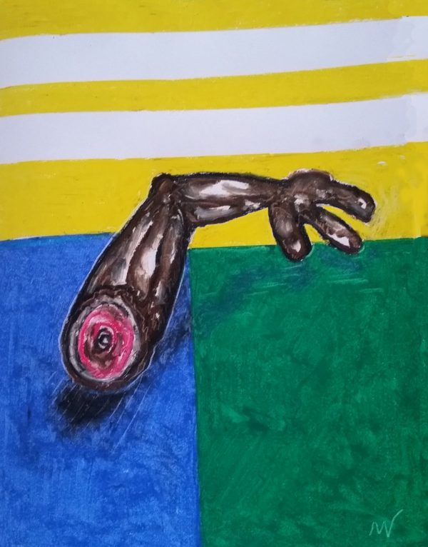 "No.57_ Hand Out_ oil pastel - that became 36"" X 72"" Oil & Tar painting"