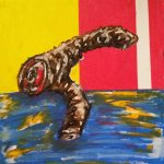 Limited Limb, tar painting, oil pastel
