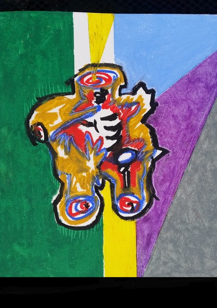 """No. 54_ oil pastel - that became 36"""" X 72"""" Oil & Tar painting"""