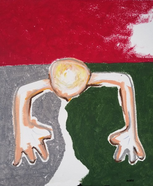 """No.53_ Grounded _oil pastel - that became 36"""" X 72"""" Oil & Tar painting"""