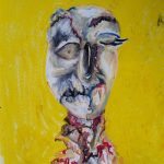 """No. Gaze_oil pastel - that became 72"""" X 96"""" Oil & Tar painting"""