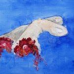 fingers crossed oil painting