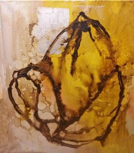 """""""Seed of Joy""""- Tar and oil, silver leaf, canvas."""