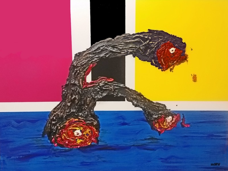 """no. P20. Limb 36""""x 48"""" Tar and oil paint on canvas."""