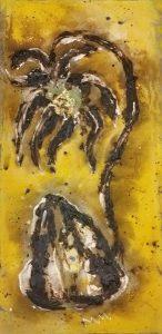 gold leaf, tar, oil paint on canvas.