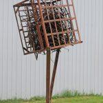 Weled metal sculpture, metaphore, outdoor metal sculpture, thinker space, Iron Sculpture, welded metal, Ballard Road Art Studio, Wilton NY, Michelle Vara