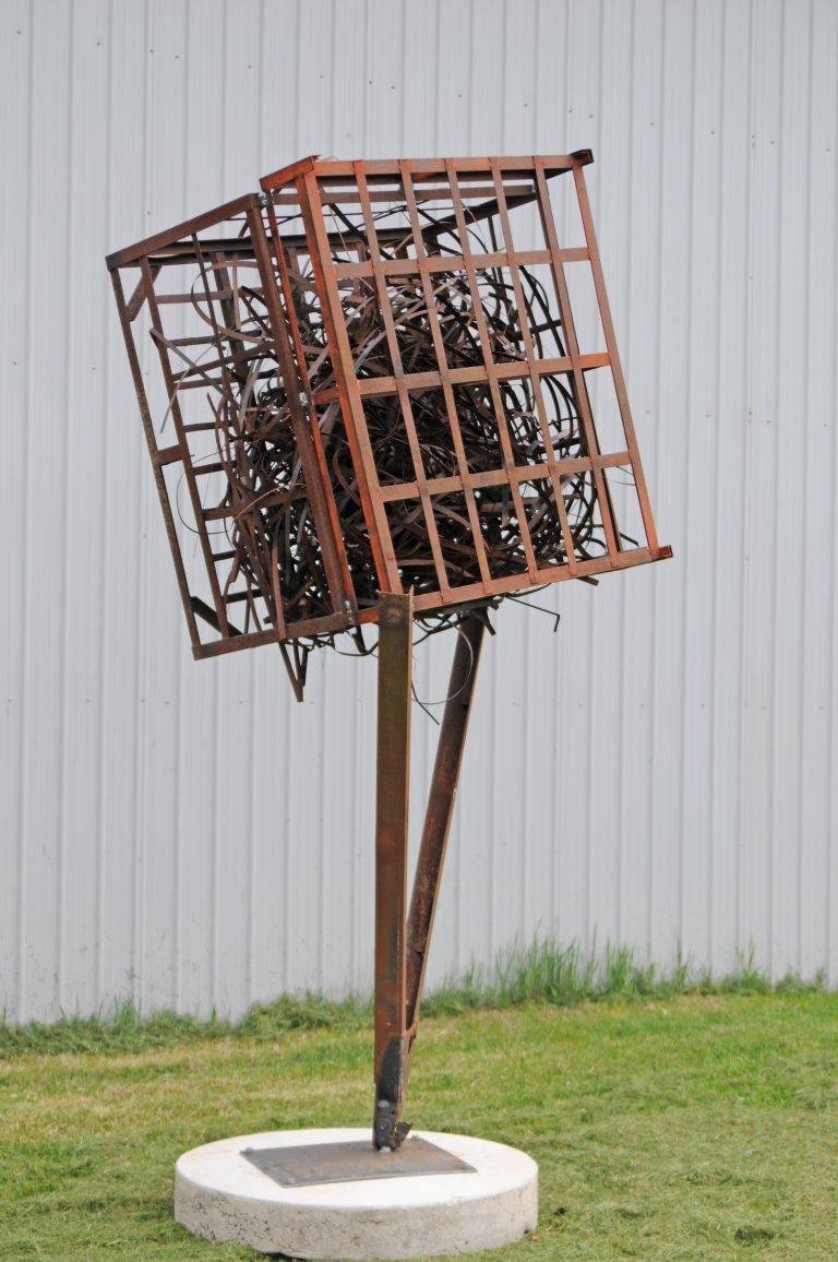 Weled metal sculpture, metaphore, outdoor metal sculpture, thinker space, Iron Sculpture, welded metal, Ballard Road Art Studio, Wilton NY, Michelle Vara