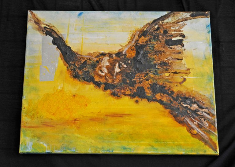 Screech Owl painted on canvas in tar and oil