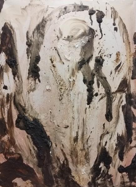 Tar painting using hubcap as paintbrush