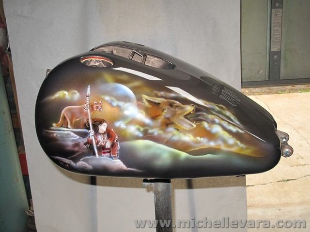 Airbrushed Indian scene on motorcycle tank