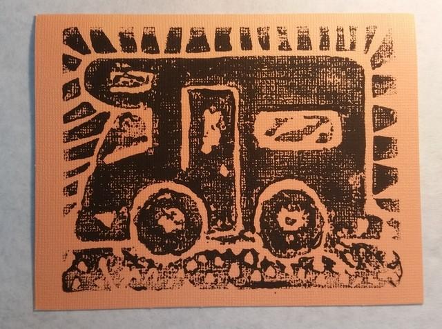 Handmade Block print cards - camping