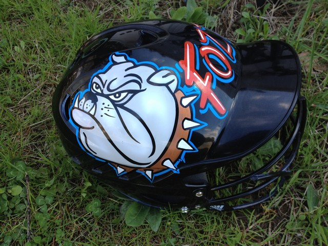 south glens falls bulldogs Airbrush and letter custom helmets