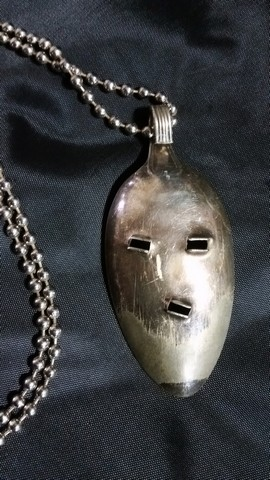 No. 757_HON, Spoon Art, metals welded with enamel paint accents. Sculpture that wears like Jewelry.