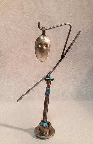 No. J763_Cheveyo, Kachina, metals welded with enamel paint accents. Sculpture that wears like Jewelry.