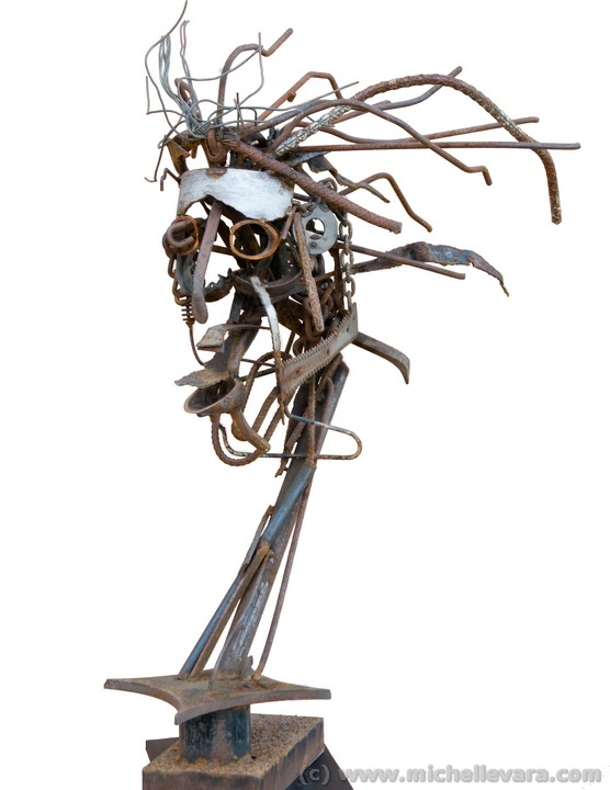 Figure Head Sculpture using found objects to communicate self talk
