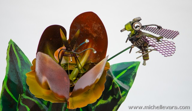 Tulips & Bees sculpture made from reclaimed metal
