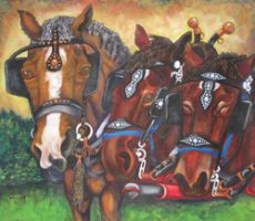 Draft horses, team and single driving horse.