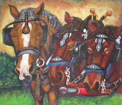 Three Kings- Painted canvas of draft horses,  team and a single driving horse.