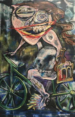 "Bicycle Woman, Fort Edward, NY-  26"" X 40"" Oil, marble dust on paper.  By contemporary artist Michelle Vara at Ballard Road Art Studio Gallery, Saratoga NY."