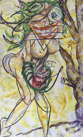 Eve- painting, oil , marble dust on paper. Neo - Basquiat