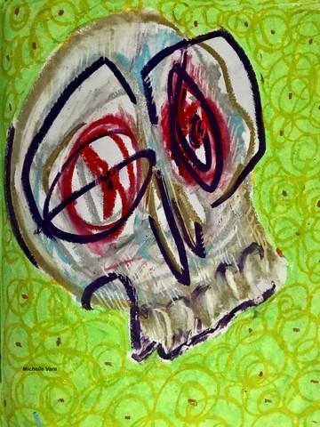 Skull oil paint on paper emotion