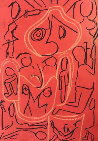 Red, Pandemic, covid, Oil on paper, Painting, Drawing