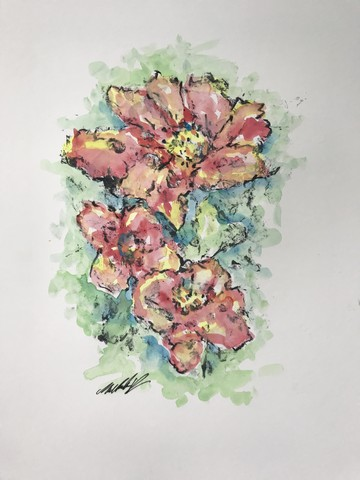 Botanical Watercolor Art - This technique is a hybrid crossing short-run handmade oil-based print and watercolor painting by Michelle Vara.
